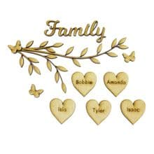 Family Tree Branch Craft Set Personalised With Your Names Laser Cut from 3mm MDF